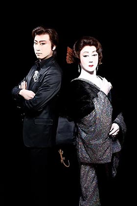 『黒蜥蜴』左より明智小五郎:喜多村緑郎、緑川夫人実は黒蜥蜴:河合雪之丞a